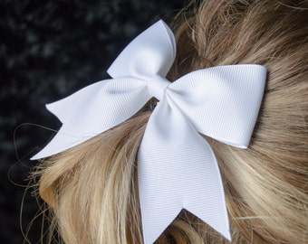 Hair Bow - Traditional White Grosgrain Hairbow