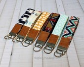 Key Fob / Key Wristlet - Choose Your Fabric - Aztec - Arrows - Southwest Style with Vegan Leather