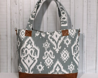 Grey Ikat with Vegan Leather - Tote Bag /  Diaper Bag -  Medium / Large Bag