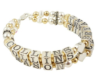 Mothers Bracelet Gift- Name Grandma Bracelet- Gold Sterling Silver Mother's Personalized ID Mom Birthstone Swarovski Crystal Gift
