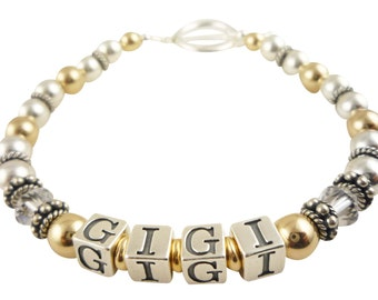 Gigi Bracelet. or made with your special name or your children's name for their Grandma or special person. 14k gold and sterling