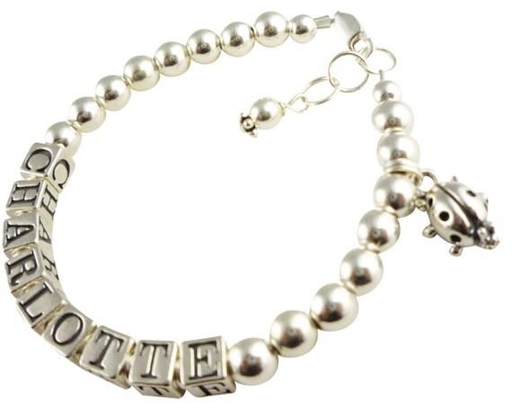 Ladybug Charm name bracelet for girls - sterling silver