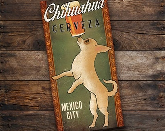 Chihuahua CUSTOM Personalized Cantina Cerveza BEER Brewing Company Gallery Wrapped Wall Art  Ready-To-Hang Stretched Canvas