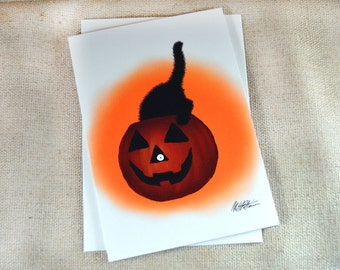 Black Cat in Pumpkin Greeting Card - Sammy Eyes a Pumpkin Illustration