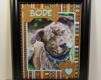Personalized Dog Photo Mat - Any Colors / Prints available too - 11x14 Mat for 8x10 photo - Vertical or Horizontal