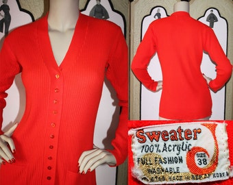 1970's Red 12 Button Ribbed Cardigan with Front Pockets. Medium. Size 38.