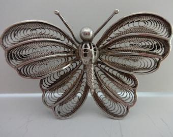 Beautiful Vintage Silver Filigree Butterfly Brooch