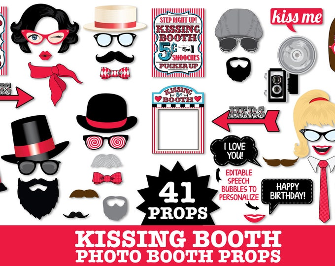 Kissing Booth Photo Booth Props - Valentine's Day, Carnival Party,Carnival Wedding,Circus Party- Instant Download PDF 41 DIY Printable Props