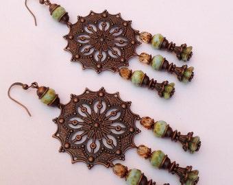 Seafoam Green Czech Glass and Antique Copper Chandelier Earrings