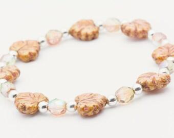 Blushing Beauty | Pink Stretch Bracelet | Leaf Bracelet for Women | Elastic Bracelet | Layering Bracelet | Bracelet - S, M, L - 1BRC0003SS