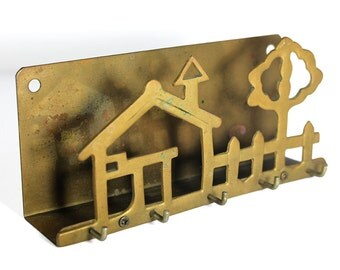 Vintage Brass Key Hook / Mail Holder