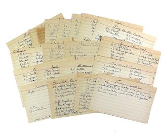 20 Vintage Handwritten Cookie Recipe Cards