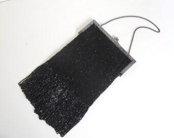 1900's 1920's Lg Black Beaded Purse w/ Jeweled Embellished Metal Frame
