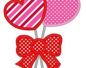 Heart Lollipops Machine Embroidery Applique Design