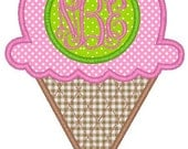 Ice Cream Cone Monogram Machine Embroidery Applique