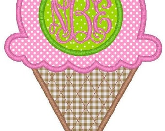Ice Cream Cone Monogram Machine Embroidery Applique