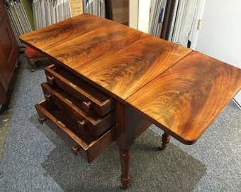 Antique walnut 3 drawer drop leaf stand table 18d29h20w40w Shipping is Not free