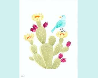 Bird on Prickly Pear Cactus Art Print