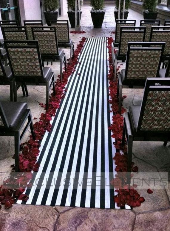 Wedding Black and White Stripe Aisle Runner Ceremony Decor Fabric Isle Runner SALE
