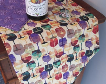 "Wine Lovers Wine Glass Table Runner 72"" Wine Runner Reversible  Wine and Purple Grape Runner Tuscany Runner Wine Country Table Runner"