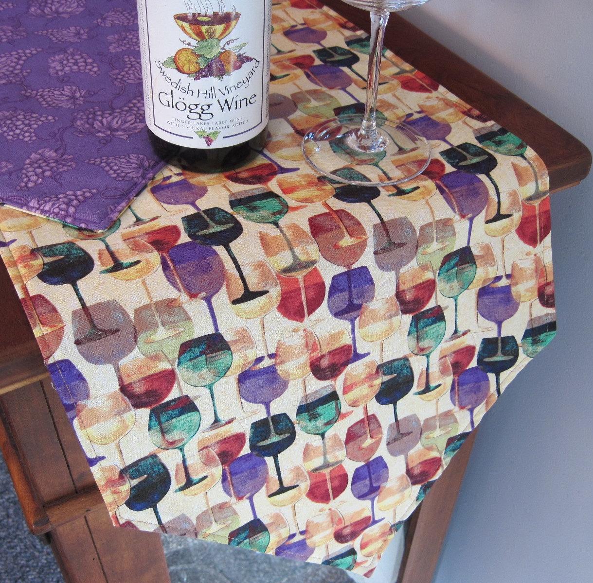 Wine Lovers Wine Glass Table Runner 72 Wine Runner