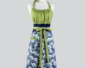 Cute Kitsch Retro Aprons - Dogwood Floral in Green and Navy Blue with Pocket Womans Cute Kitchen Chef Cooking Apron