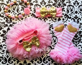 Pink and Gold TUTU Baby bloomer,Cover, Pink tutu, Birthday Set, Birthday Girl, Pink and Gold,baby headband-Newborn,toddler