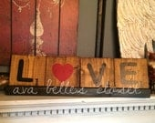 Love Oversized Rustic Wood Scrabble Tiles and Tray Home Decor