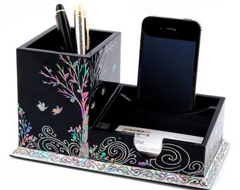 Mother of Pearl Inlay Wooden Bird Tree Multipurpose Office Desk Desktop Pen Pencil Brush Cup Case Box Business Card Holder Organizer Caddy