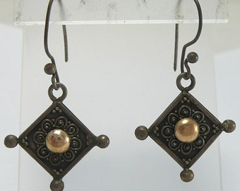 Chinese Export Sterling & Gold Dangle Earrings