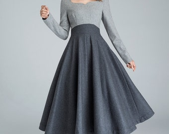 Christmas gift, designer dress, grey dress, long dress, wool dress, winter dress, womens dresses, elegant dress, color block dress   1615