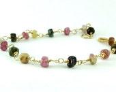 Delicate Tourmaline Bracelet-Dainty Gold Bracelet-Gemstone Bracelet-ccsdesigns