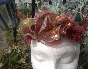 Fabulous Fairy Circlet Crown Red and Gold Fairy Tiara bridesmaid