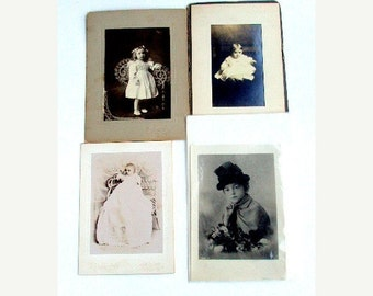 VALENTINES SALE Vintage Photographs, cr. 1880s. Estate Collection of Family Members,tinted, B&W mounted Girls, Baby Wicker  I Take Credit Ca