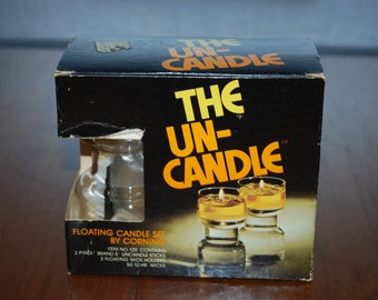 THE UN - Candle - Candle Holder Set - by Corning - 1970's - Retro - Mod