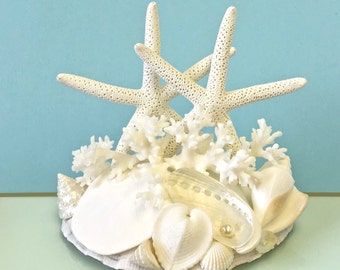Beach Wedding Cake Topper with Natural Starfish, Lace Coral and Shells