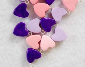 Polymer Clay Heart Charms, Set of 5