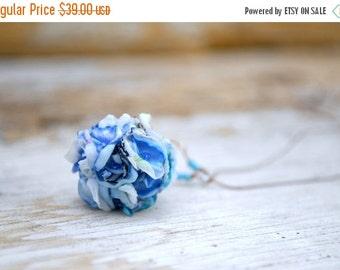 EndOfSummerSale Blue Flowers Ball Pendant Necklace, Bunch of Blue Flowers Necklace, Floral Necklace