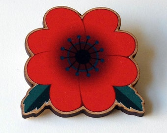 Red Poppy Pin / Poppy Pin / Wood Flower Pin / Red Flower Brooch / Red Flower Pin