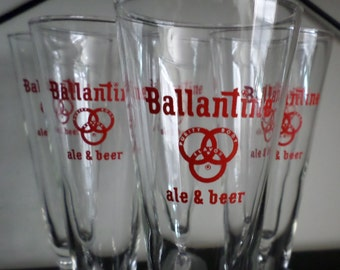 Ballantine Pilsner  Glass Set of (6), Breweriana, Man Cave Decor, Gifts under 20