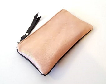 Pink Rose and Black Leather Zipper Pouch