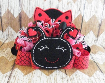 "5"" Ladybug Bow, Ladybug Funky Loopy Bow, Funky Loopy Bow, Love Bug Bow. Red Bow, Black Bow"
