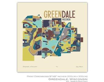 Greendale, Wisconsin 12x12 Art Map Print