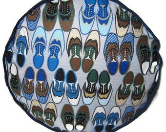 Wingtip Shoes Pouffe Footrest Floor Cushion Pouff Blue Corduroy