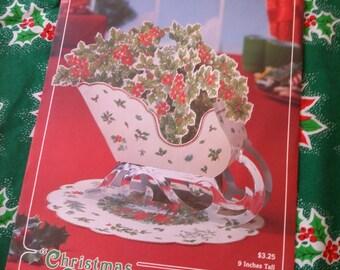 Vtg Hallmark Paper Christmas Sleigh Holly Centerpiece