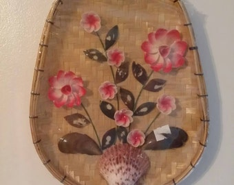 Vtg Sea Shell Art Kitschy Pink Flowers in Rattan Basket Sunroom Lanai Wall Hanging