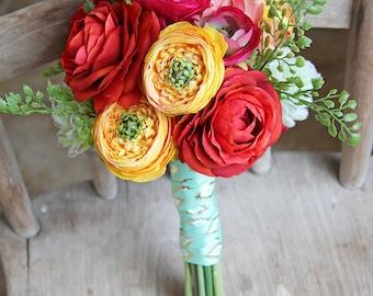 Southwestern Aztec Ranuculus Colorful Petite Wedding Bouquet