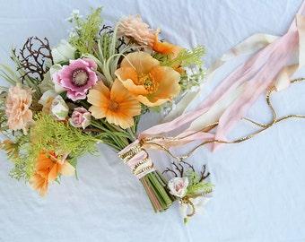 Boho Beach Blush and Peach Coral Wedding Bouquet and Boutonniere Set
