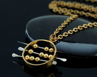 Abacus Necklace II in Brass and Stainless Steel