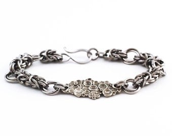 The Cobblestone Byzantine Rose Stainless Steel Chainmaille Bracelet